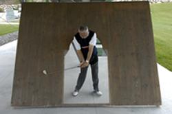 Rudi Knapp beim Abschlag in der Hilfswand